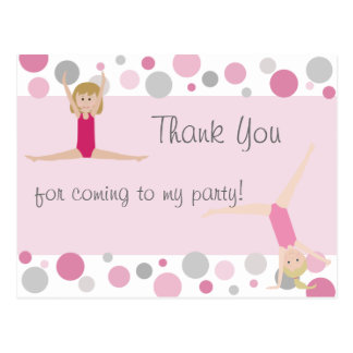 Gymnastic Party Thank You in Pinks & Gray Postcard