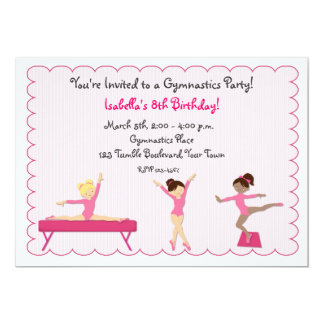 Gymnastic Party, Tumbling, Pink Invitation