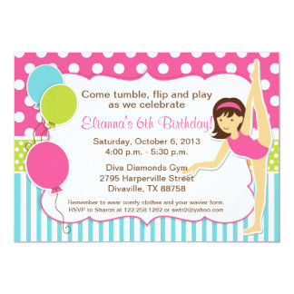 Gymnastic Pink Green and Blue Girl with Dark Hair 13 Cm X 18 Cm Invitation Card