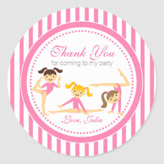 Gymnastic Pink Party Stickers