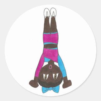 Gymnastics Acro Acrobatics Dance Tumbling Gymnast Classic Round Sticker
