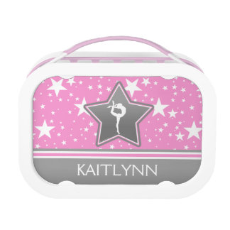 Gymnastics Among the Stars in Pink with YOUR NAME Lunch Box