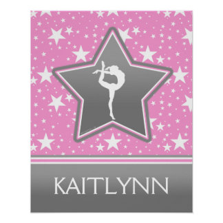 Gymnastics Among the Stars in Pink with YOUR NAME Poster