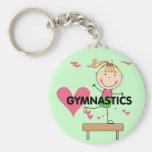 GYMNASTICS - Blonde Girl Balance Beam Tshirts Basic Round Button Key Ring