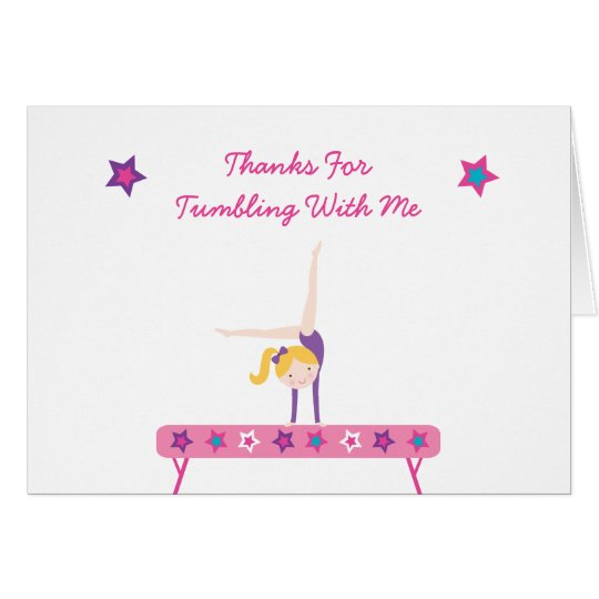 Gymnastics Blonde Girl Birthday Card