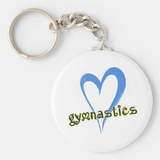 Gymnastics blue heart basic round button key ring