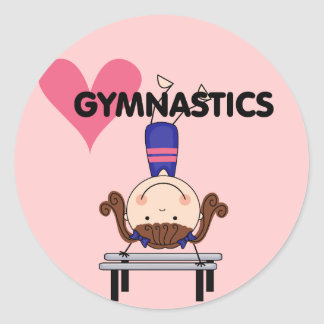 GYMNASTICS - Brunette Girl Handstands Round Sticker