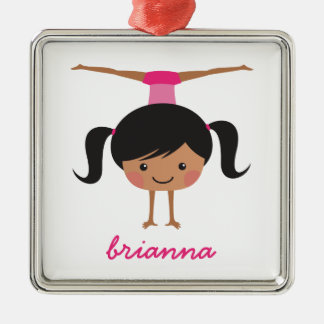 Gymnastics cartoon girl, personalized name Silver-Colored square decoration