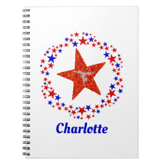 Gymnastics Cheerleading Stars Personalized Name Notebook