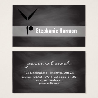 Gymnastics Coach Chalkboard | Cheerleading Teacher Business Card