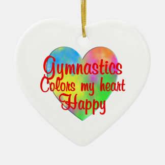Gymnastics Colors My Heart Happy Ceramic Heart Decoration