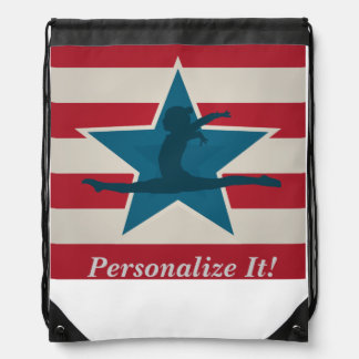 Gymnastics Gifts USA themed Drawstring Bags