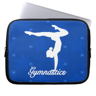 Gymnastics Girl Blue Stars Laptop Sleeve