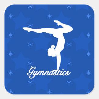 Gymnastics Girl Blue Stars Square Sticker