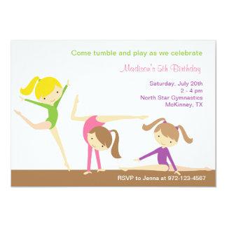 Gymnastics Girls Birthday Party Invitation