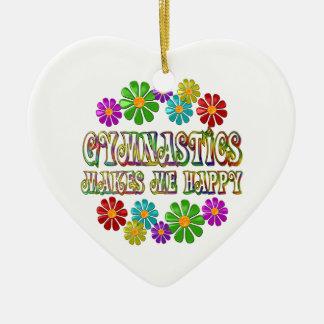 Gymnastics Happy Ceramic Heart Decoration