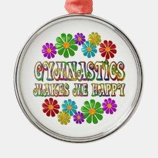 Gymnastics Happy Silver-Colored Round Decoration