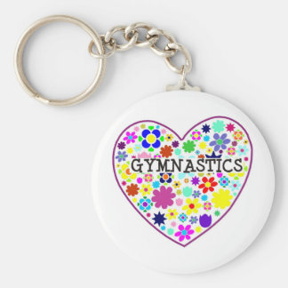 Gymnastics Heart with Flowers Key Ring