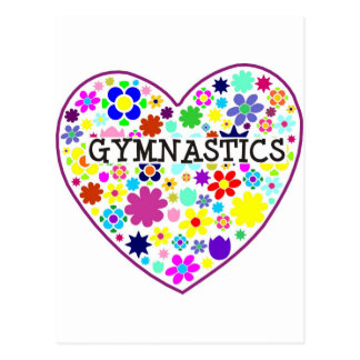 Gymnastics Heart with Flowers Postcard