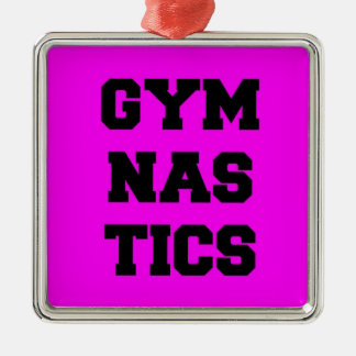 Gymnastics in Pink Silver-Colored Square Decoration