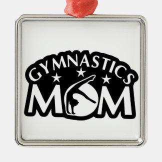 Gymnastics_Mom Silver-Colored Square Decoration