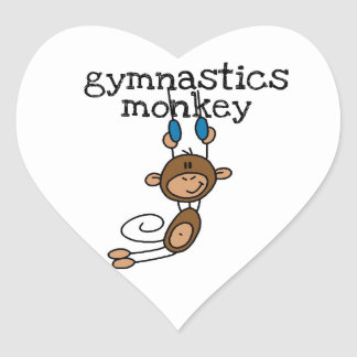 Gymnastics Monkey Heart Sticker