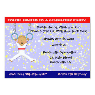 Gymnastics Party 13 Cm X 18 Cm Invitation Card