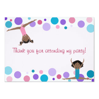 Gymnastics Party Flat Thank You in Aqua and Pinks Custom Invite