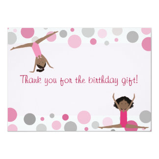 """Gymnastics Party Flat Thank You in Pink and Gray 4.5"""" X 6.25"""" Invitation Card"""
