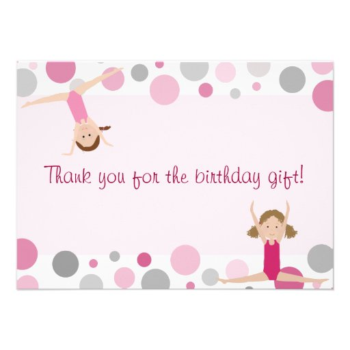 Gymnastics Party Flat Thank You in Pink and Gray Personalized Announcement