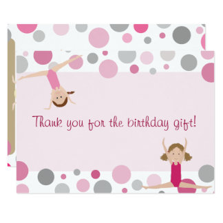 Gymnastics Party Flat Thank You in Pink and Grey Card