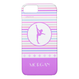 Gymnastics Pastel Horizontal Stripes w/ Monogram iPhone 8/7 Case