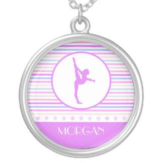Gymnastics Pastel Horizontal Stripes w/ Monogram Round Pendant Necklace
