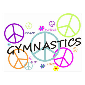 Gymnastics Peace Signs Postcard