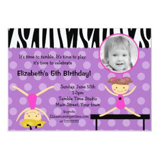 Gymnastics  Photo Birthday Invitations