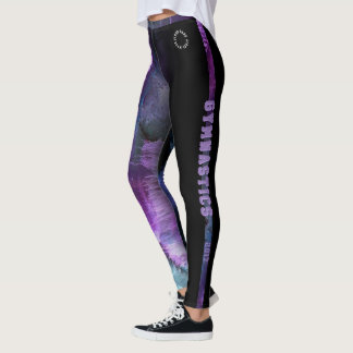 Gymnastics Purple Abstract with strip Leggings