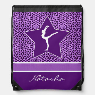 Gymnastics Purple Cheetah Print with Monogram Drawstring Bag