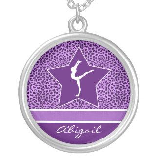 Gymnastics Purple Cheetah Print with Monogram Silver Plated Necklace