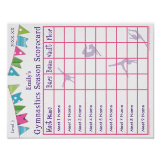 Gymnastics Season Meet Scorecard Poster 9