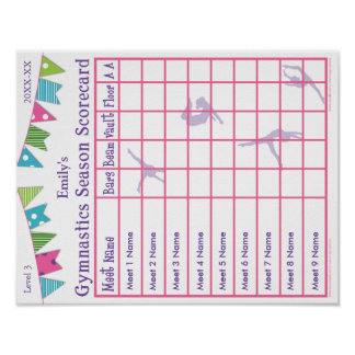 Gymnastics Season Meet Scorecard Poster 9 AA