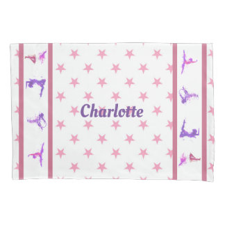 Gymnastics Stars Pink Girls Monogram Name Pillowcase