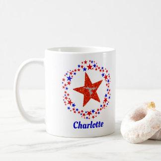 Gymnastics Stars Red White Blue Personalized Name Coffee Mug