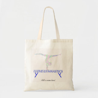 Gymnastics tote bag with word art