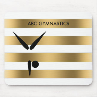 Gymnastics Tumbling | Gold Stripes Gymnast Tumbler Mouse Pad