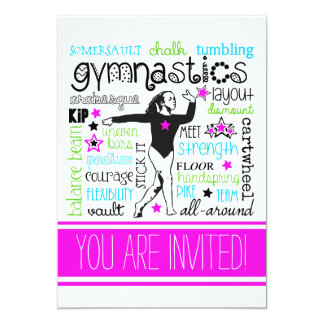 Gymnastics Typography Party Invitation