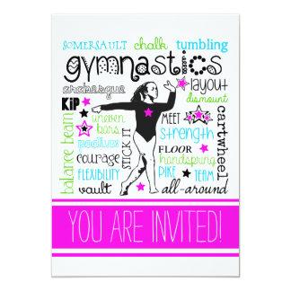 Gymnastics Typography Party Invitation