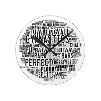 Gymnastics Word Cloud Round Clock