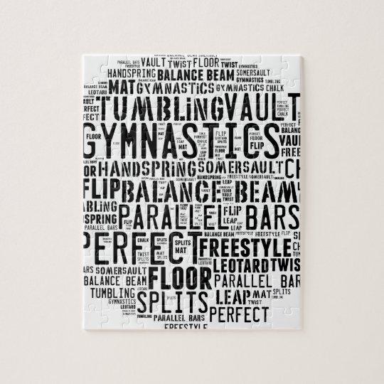 Gymnastics Word Cloud Tumbling Jigsaw Puzzle