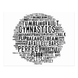 Gymnastics Word Cloud Tumbling Postcard