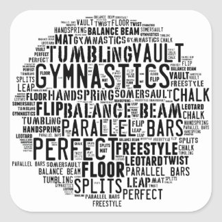 Gymnastics Word Cloud Tumbling Square Sticker